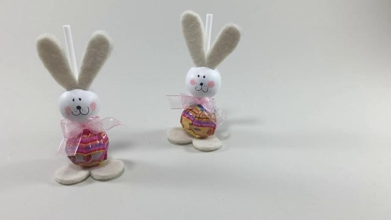 Pasqua fai da te Simpatici conigli con lecca lecca Idee creative Pasqua Lavoretti di Pasqua