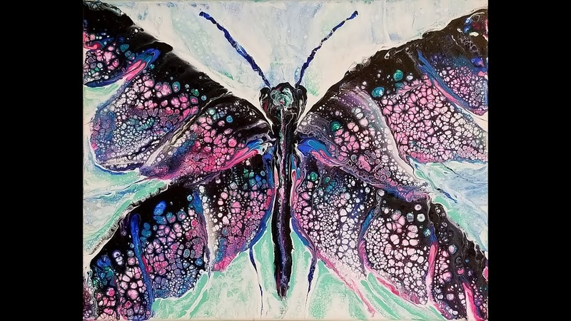 74 Acrylic Pour Swipe into Butterfly request using Owatrol with Sandra Lett 032718