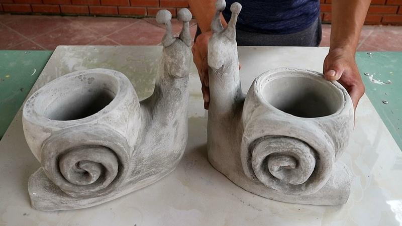 Project cement craft Design pair bonsai pot form snails Ideas garden decoration beautiful