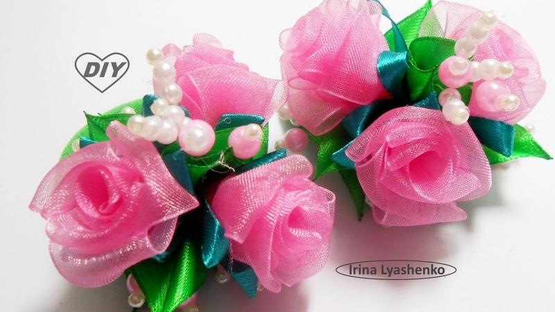 Розочки из органзы МК/ DIY Roses from organza/PAP Rosas de organza170