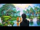 Vẽ tranh tường 3d phong cảnh sơn thủy Liên hệ vẽ tranh 0969 033 288 Đào tạo các khóa học vẽ tranh