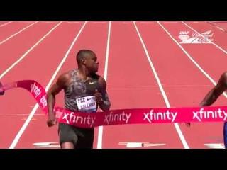 Vine. Justin Gatlin wrong reaction. Christian Coleman win 100 m (WL 9,81) - IAAF Diamond League 2019