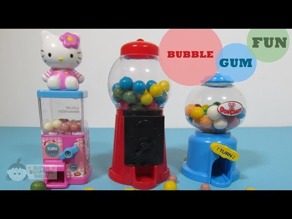HELLO KITTY mini GUMBALL machine plus Double Bubble and Don Candy Gumball machines