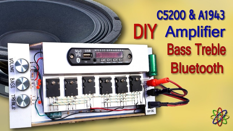 DIY Powerful Amplifier using C5200 A1943 Transistors with Heavy Bass Treble Volume MP3 Bluetooth