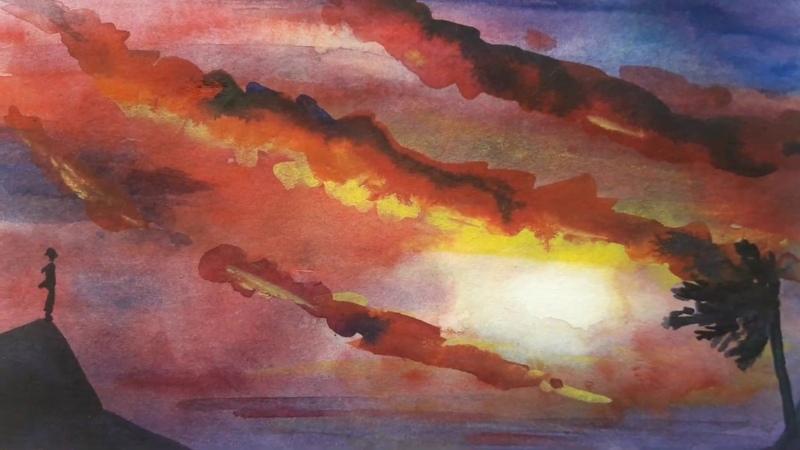Как нарисовать закат акварелью 🌅 УРОК РИСОВАНИЯ №4 Рисуем небо и море Упражнение Арт Терапии