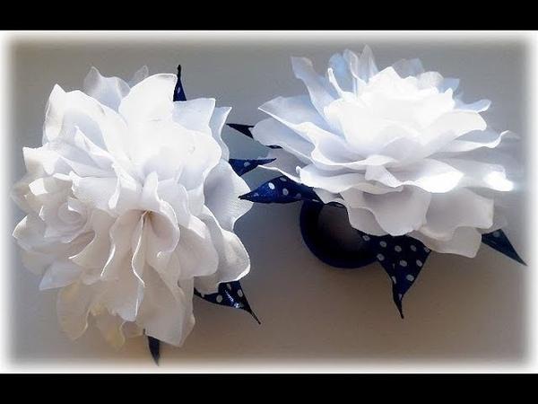 МК Пышный бант на 1 Сентября своими руками Tutorial Ribbon Bow Flower Kanzashi DIY