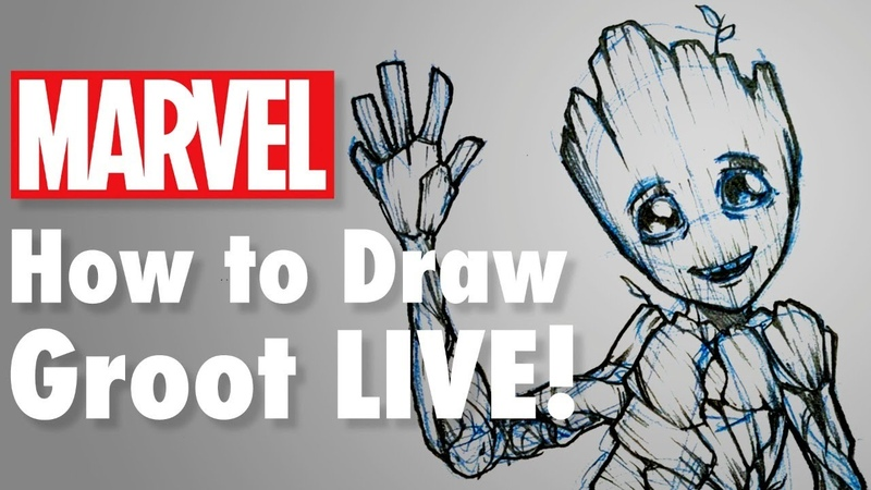How To Draw Groot LIVE Marvel Comics