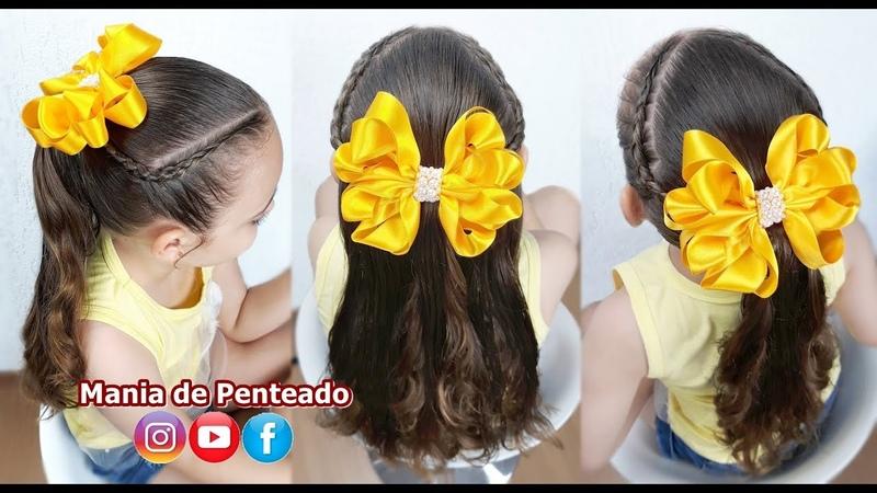 Penteado Rápido com Trança Inversa para Escola Quick Hairstyle with Braid for School