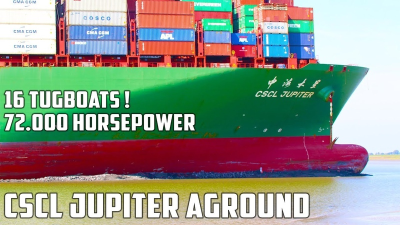 Refloating the CSCL Jupiter 14th of August 2017