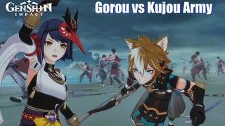 Genshin Impact - Shogun Army vs Resistance Full Fight (Gorou vs Kujou Sara)