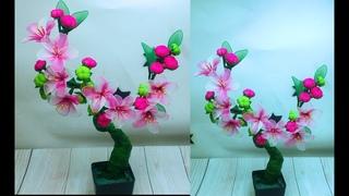 🍀🌼Bonsai flower tree making with sock cloth🌸