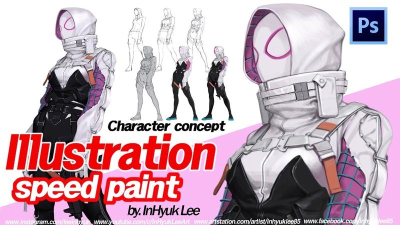 Character illustration: Spider Gwen Tech wear by.InHyuk Lee (캐릭터 일러스트: 스파이더 그웬테크웨어 by.이인혁)