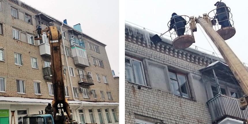 В Петровске продолжают убирать наледь с крыш многоэтажек, которые обслуживает управляющая компания «Базис»