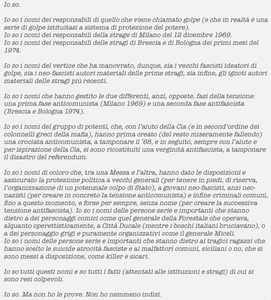«Io so» Pier Paolo Pasolini 'Corriere della Sera'14/11/74