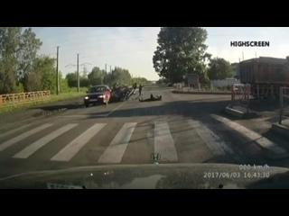 Новокузнецк авария с мотоциклом на ЗСМК