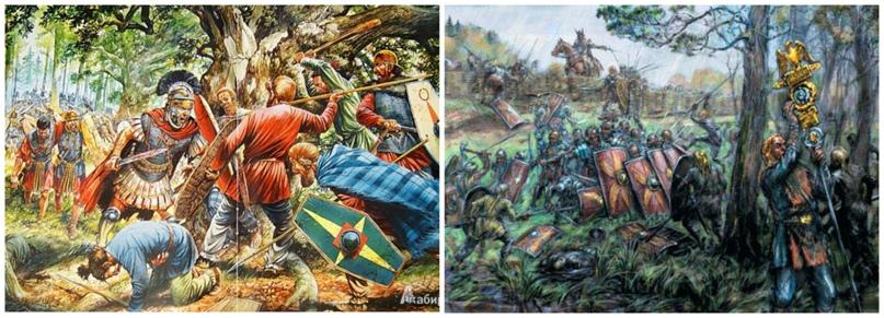 Картинки изображают избиение уже имперских римлян германцами в Тевтобургском лесу. Но это отличная иллюстрация того, как варвары показывают римлянам правила игры «внезапно напади из леса, создай максимум хаоса и убей их всех», хехе. При Сабисе ещё и темно было, плюс ко всему. Отличная игра, римлянам очень понравилось.