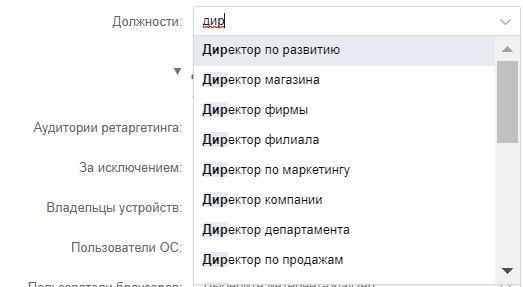 Скриншот настроек во ВКонтакте: Должности