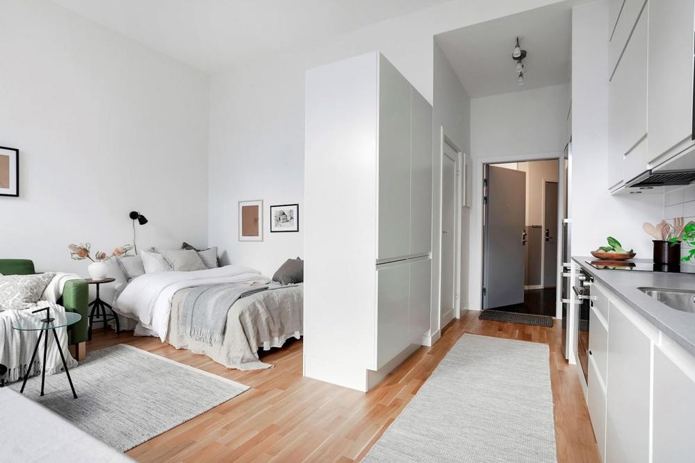 Интерьер скандинавской квартиры-студии 34 м.