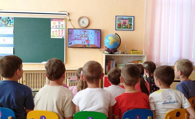 Ребята с удовольствием посмотрели обучающий мультфильм «Правила безопасности».