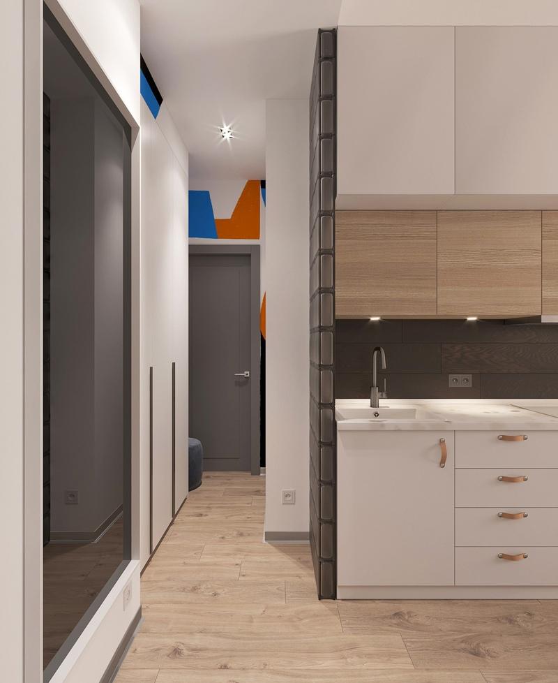 Три маленькие студии из 3-комнатной квартиры: проект студии №3 21 кв.