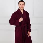 Премиум - Темно-бордовый мужской махровый халат с вышивкой