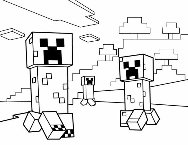 раскраска для мальчиков майнкрафт #4