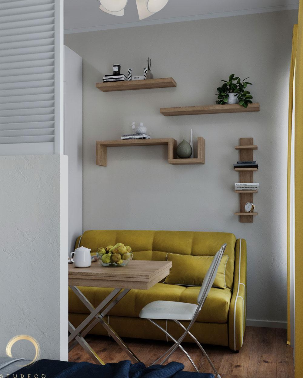 Проект малометражной гостевой студии 22 кв.