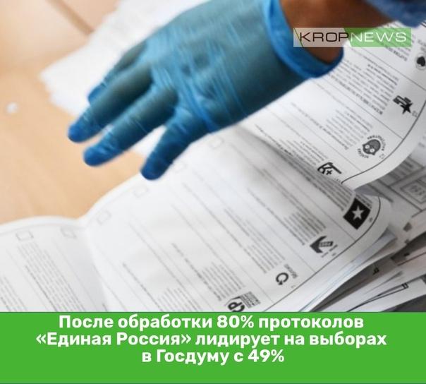 После обработки 80% протоколов «Единая Россия» лид...