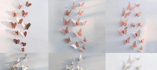 98.52руб. 31% СКИДКА|12 шт./компл. полые 3D наклейки на стену в виде бабочки для свадебного украшени