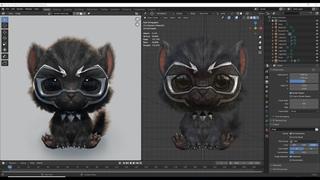 Black Cat - Blender 2.9 Timelapse