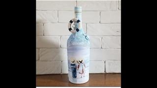 Морской декор бутылки.  DIY.  Nautical bottle decor.