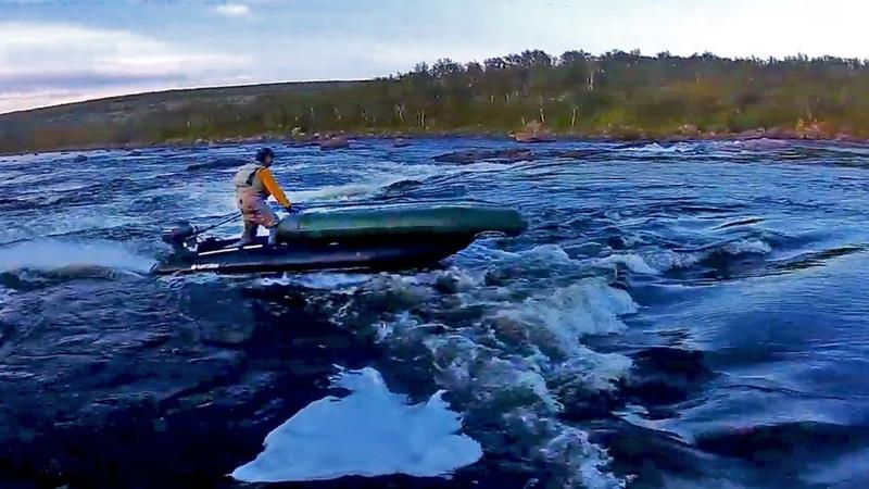 Прохождение порогов на надувной лодке Двигатель с водометной насадкой KaBoat SK470XL Yamaha