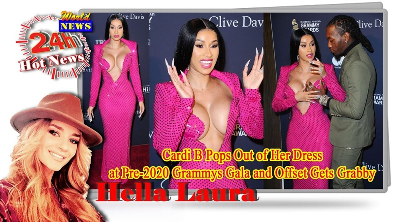 Cardi B Pops Out of Her Dress at Pre 2020 Grammys Gala and Offset Gets Grabby