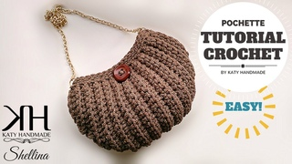 Tutorial uncinetto pochette Shellina - Maglia bassa in costa - Crochet bag ♥ Katy Handmade